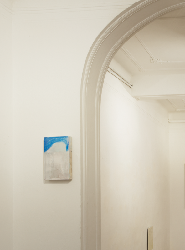 Luogo d'acqua. Nacita, (Place of water. Birth), 2019, oil on canvas, 20x30 cm. Exhibition view RESTITUIT at Fondazione Zucchelli, Bologna. Photo credits: Francesca di Paola.